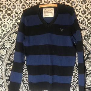 Men's Black and Blue V-Neck American Eagle Sweater